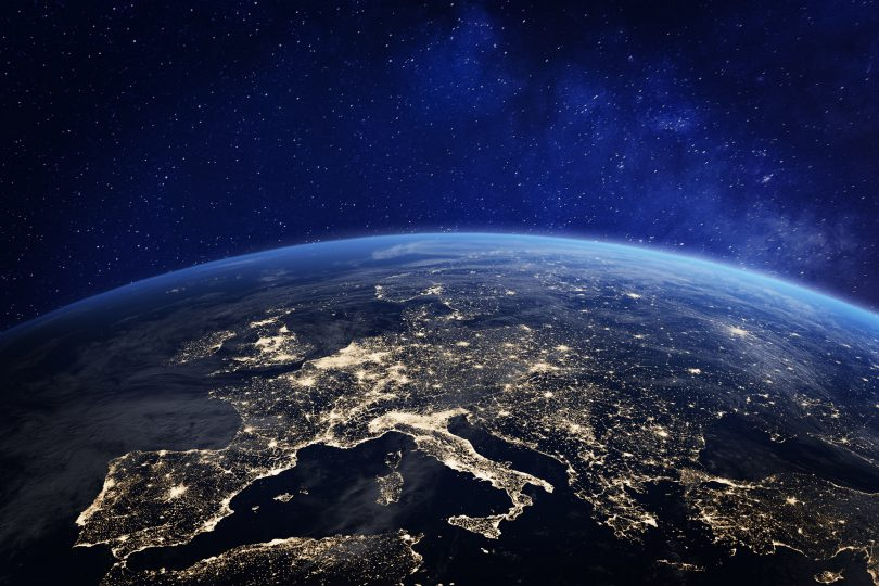 Europe at night from space, city lights, elements from NASA